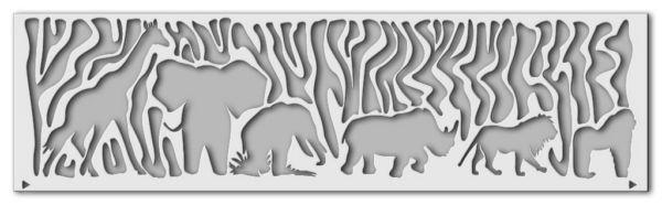Wandschablone Wild Afrika Elefanten Katze