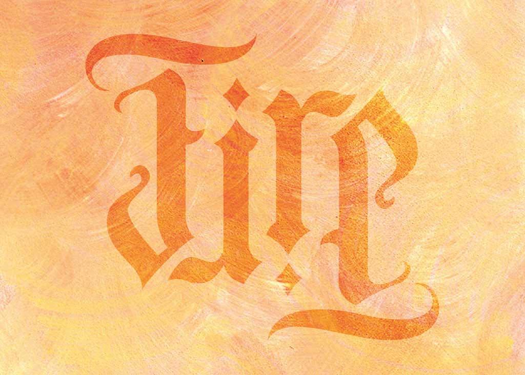 Kalligraphie Wandschablone Ambigramm Fire