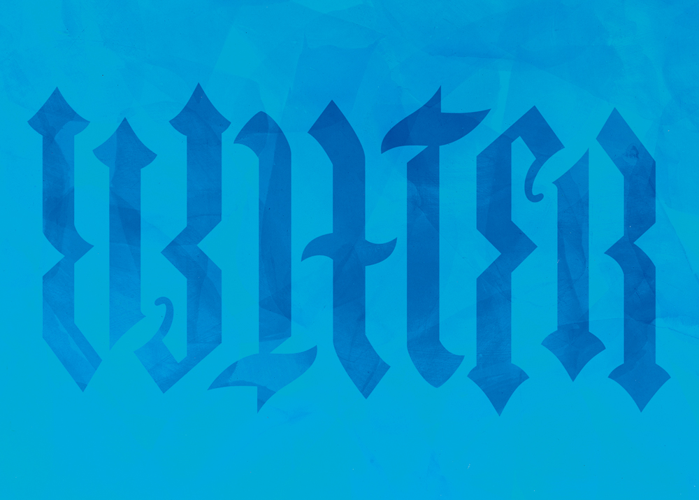 Wandschablone Ambigramm Water mystik