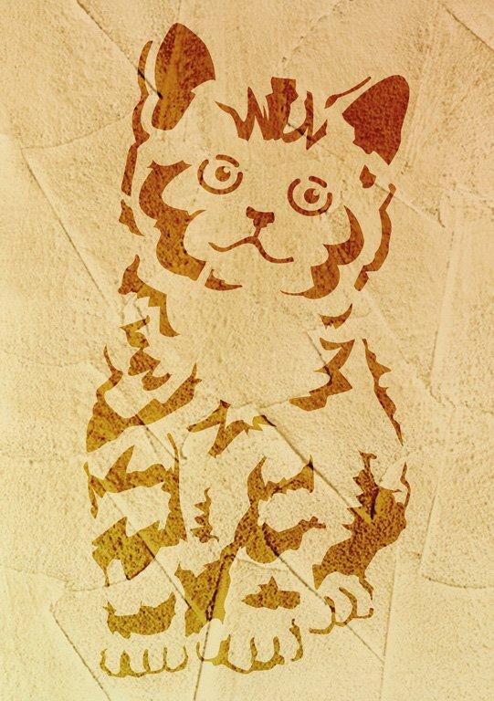 Wandschablone Katze 1