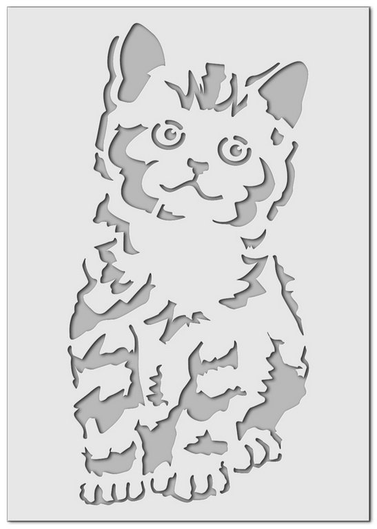 Wandschablone Tiere Katze 1