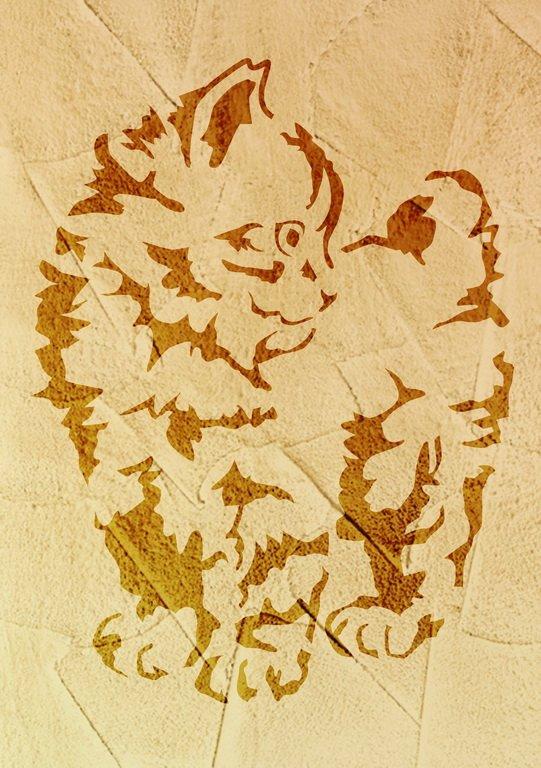 Wandschablone Katze 3
