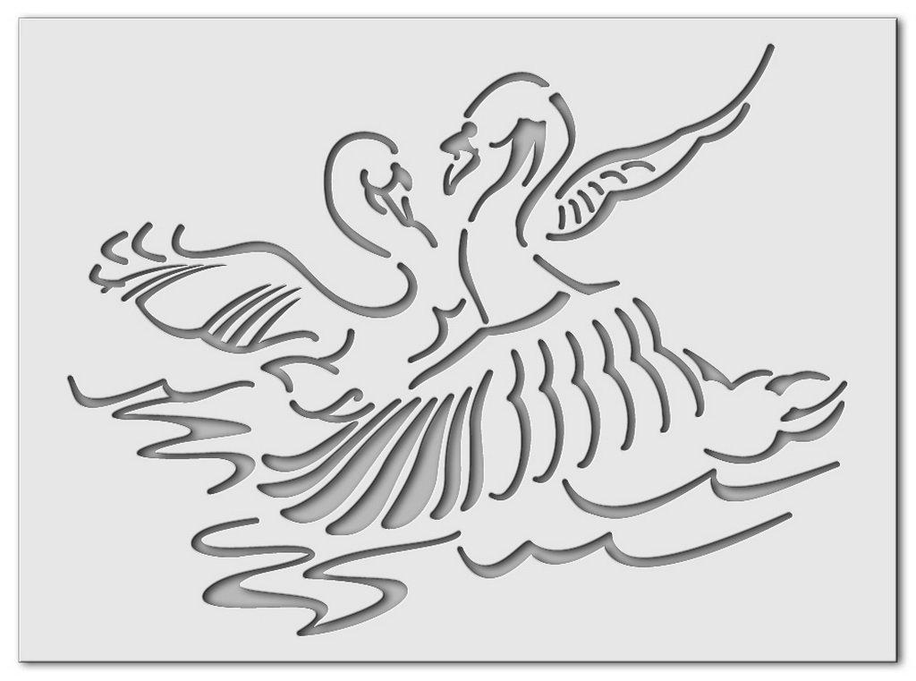 Wandschablone Vögel Schwan