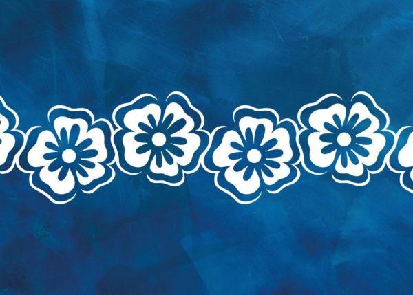 Wandschablone Skandinavischer Stil Blumenband