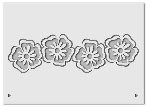 Wandschablone floral Blumenband