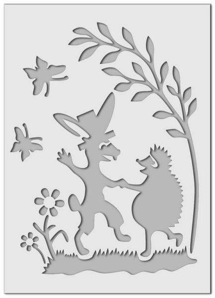 Wandschablone Hase und Igel Kinderzimmer