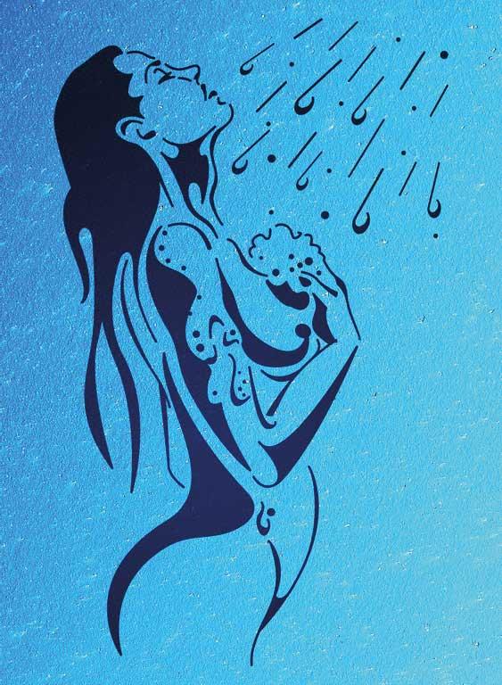 Wandschablone Duschen