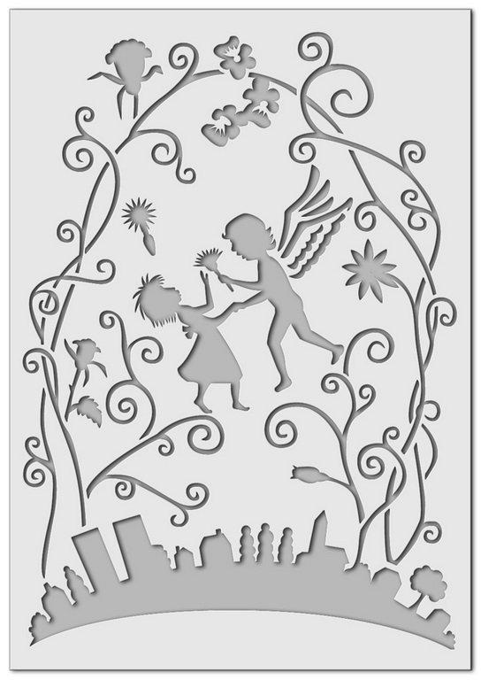 Wandschablone kinderzimmer engel malerschablone for Wandschablone kinderzimmer