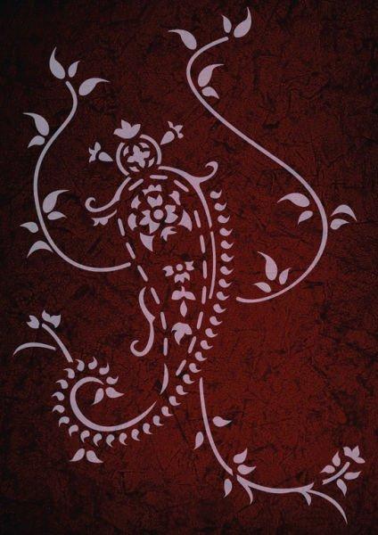 Wandschablone paisley Blumenranke 2