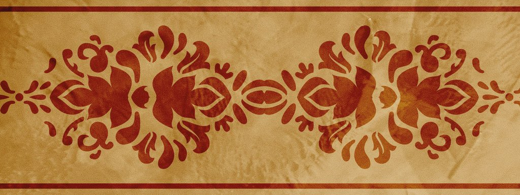 Wandschablone floral Blattwerk