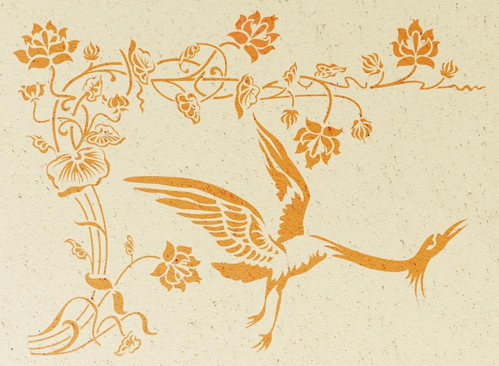 Wandschablone floral Kranich 1 passend zur Nr. 0365, Kranich 2