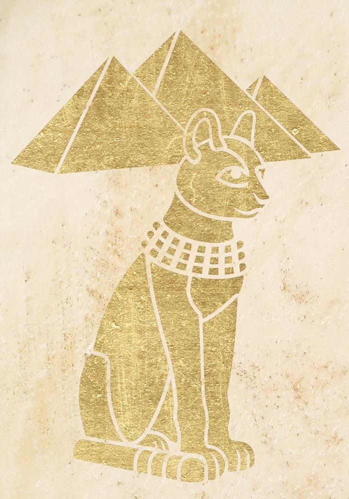 Wandschablone Kultur Egypt-Cat