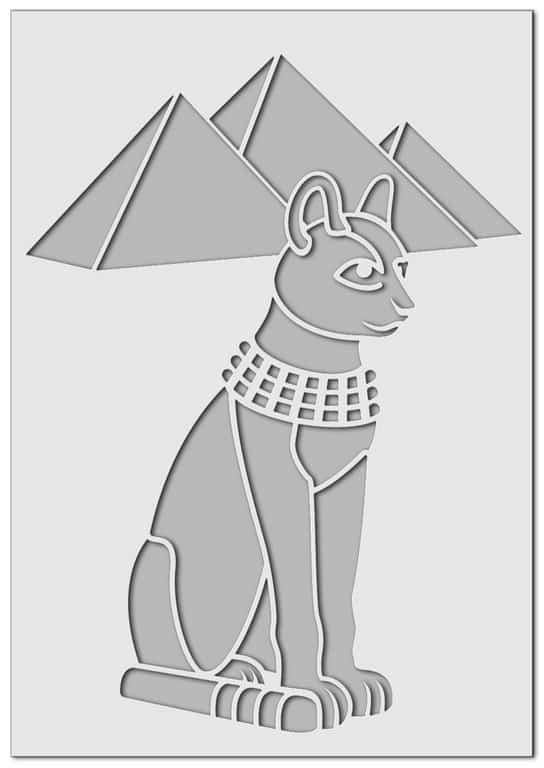 Wandschablone Egypt-Cat