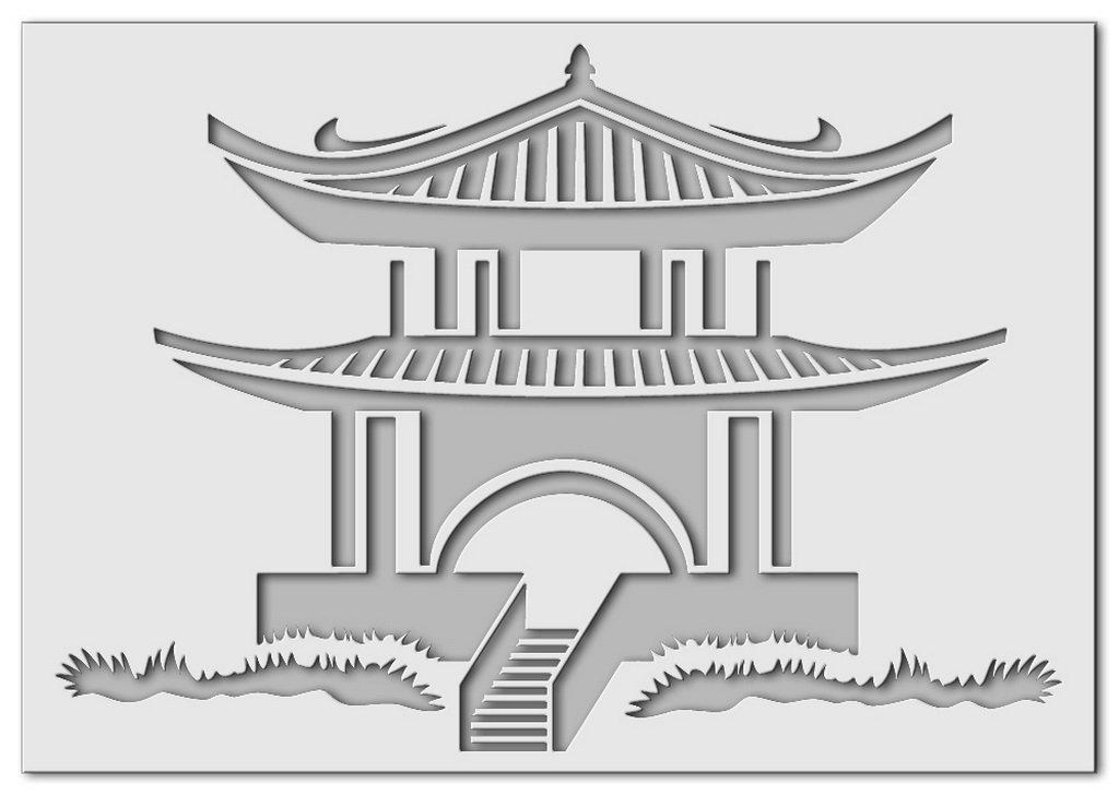 Wandschablone Japanhaus