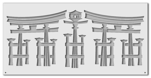 Wandschablone Japantempel