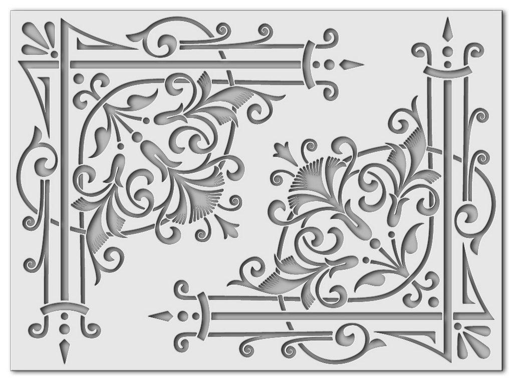 Wandschablone Eckfächer passend zu Nr. 0426, Fächermuster