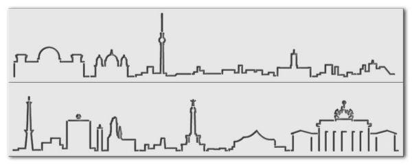 Wandschablone Tupf Skyline Berlin