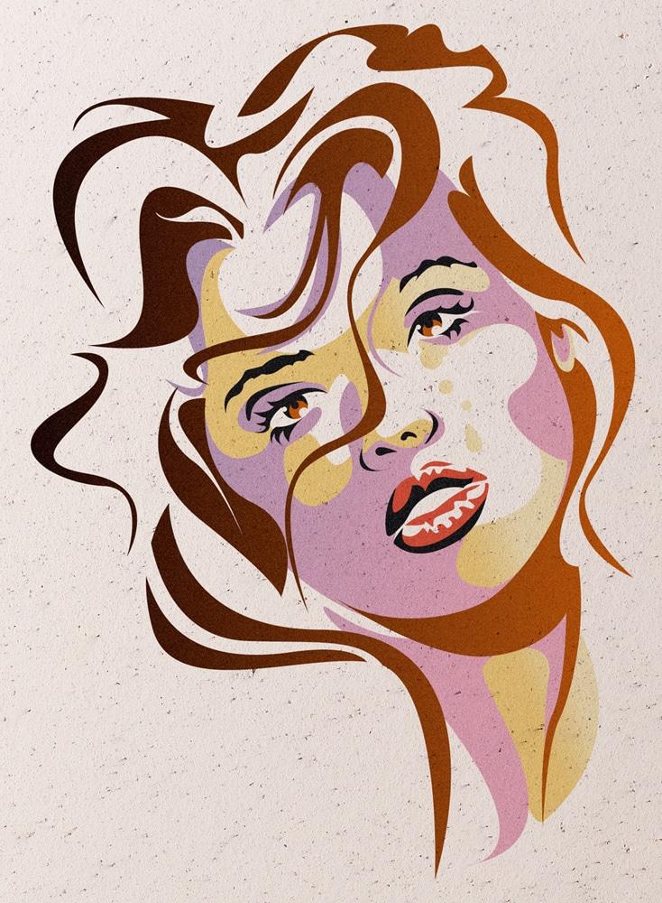 Wandschablone Tears Beauty mehrfarbige