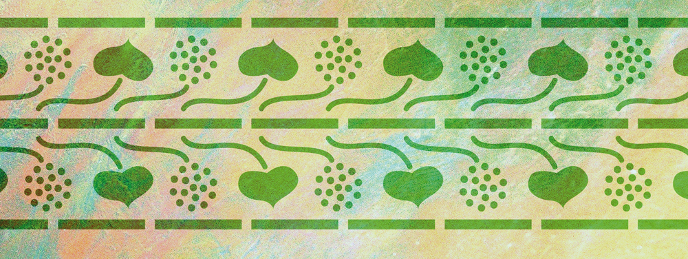 Wandschablone Herzblätter floral