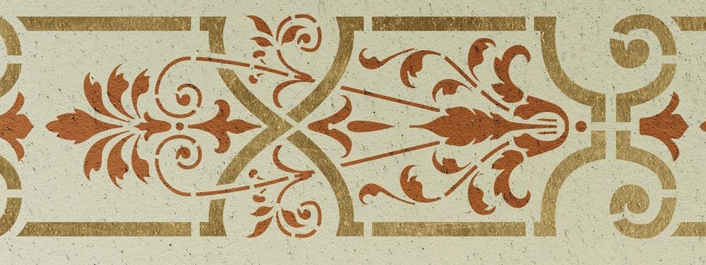 Wandschablone Attika floral