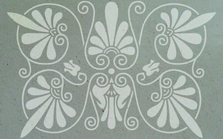 antike Wandschablone Augustinus floral