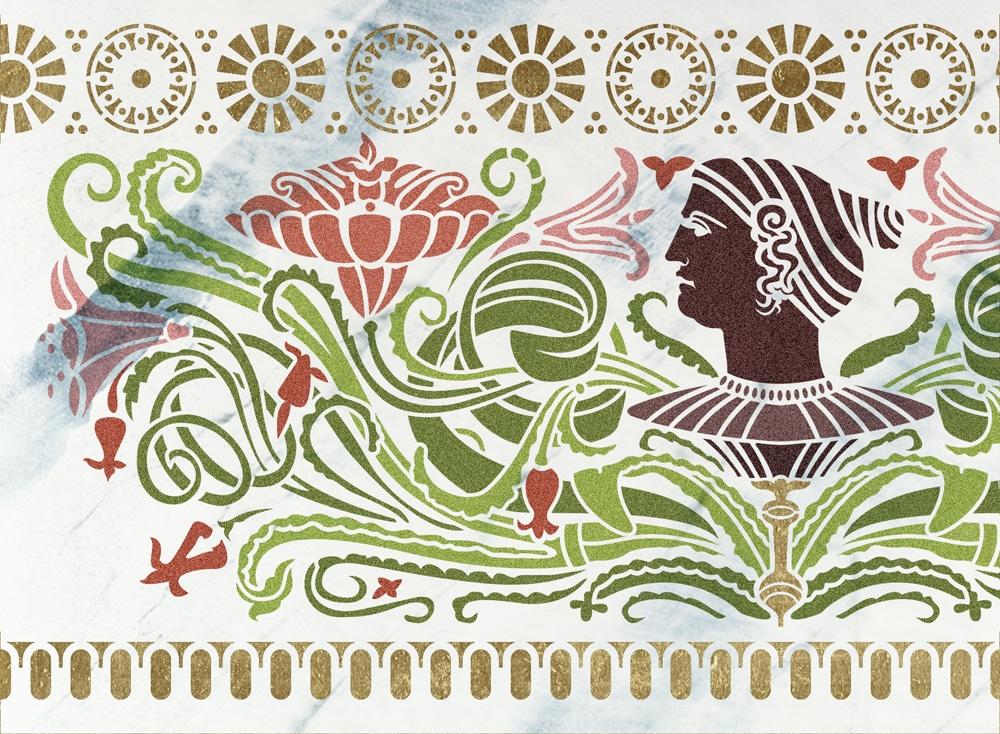 Wandschablone HistoryDschungel floral