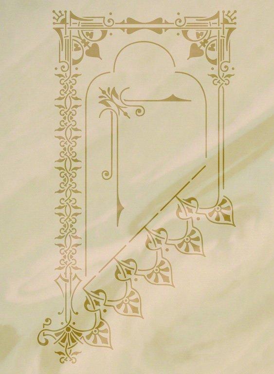 Wandschablone Spiegelfenster floral