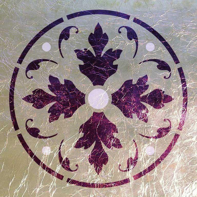 Wandschablone Rosette Schild floral