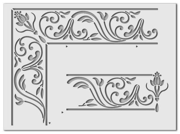 Wandschablone Blumenfenster
