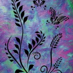 Wandschablone Frühling floral