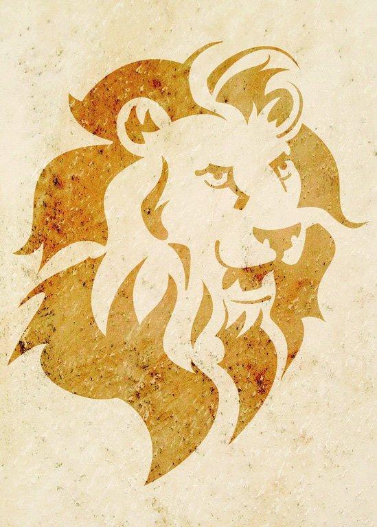 Wandschablone Löwe Katze