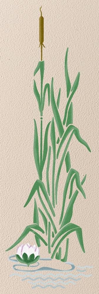 Wandschablone Schilf floral