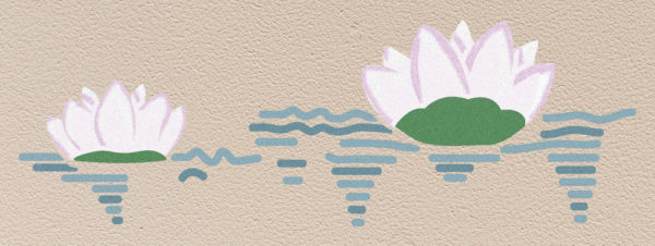 Wandschablone Seerosen floral