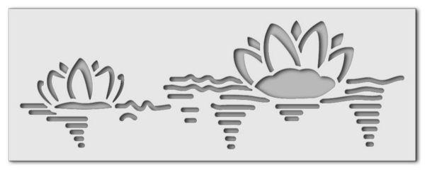 Wandschablone Seerosen