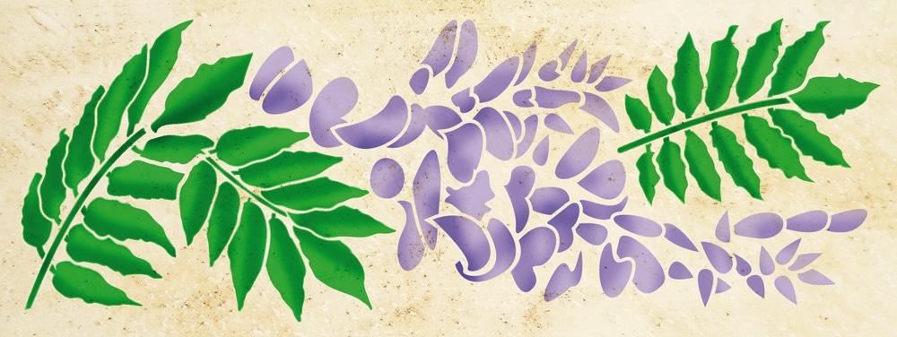 Wandschablone Glyziene floral
