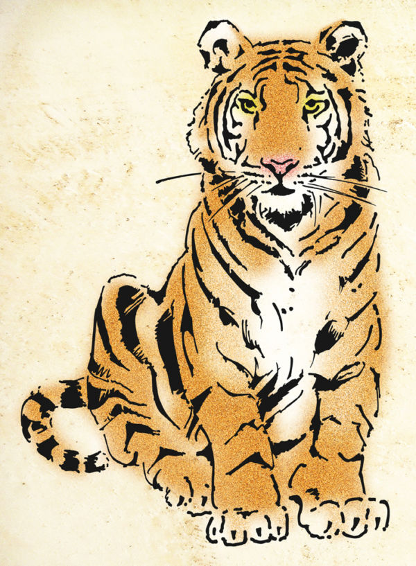 Tiger Tom Schablone Kinderzimmer