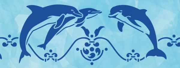 Wandschablone Dolphins Meerestiere