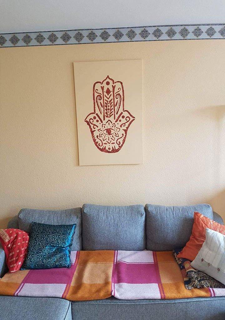 Fatima Hand Wandbild Schablonentechnik
