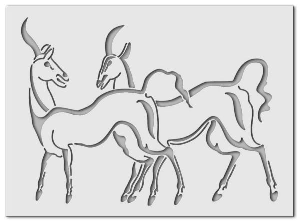 Wandschablone diverse Antilopen