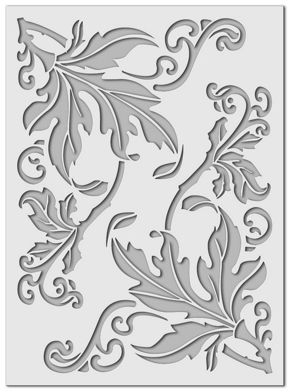 Wandschablone floral Blatt
