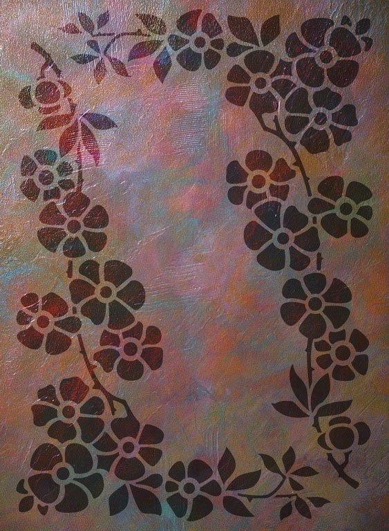 Wandschablone floral Streublümchen