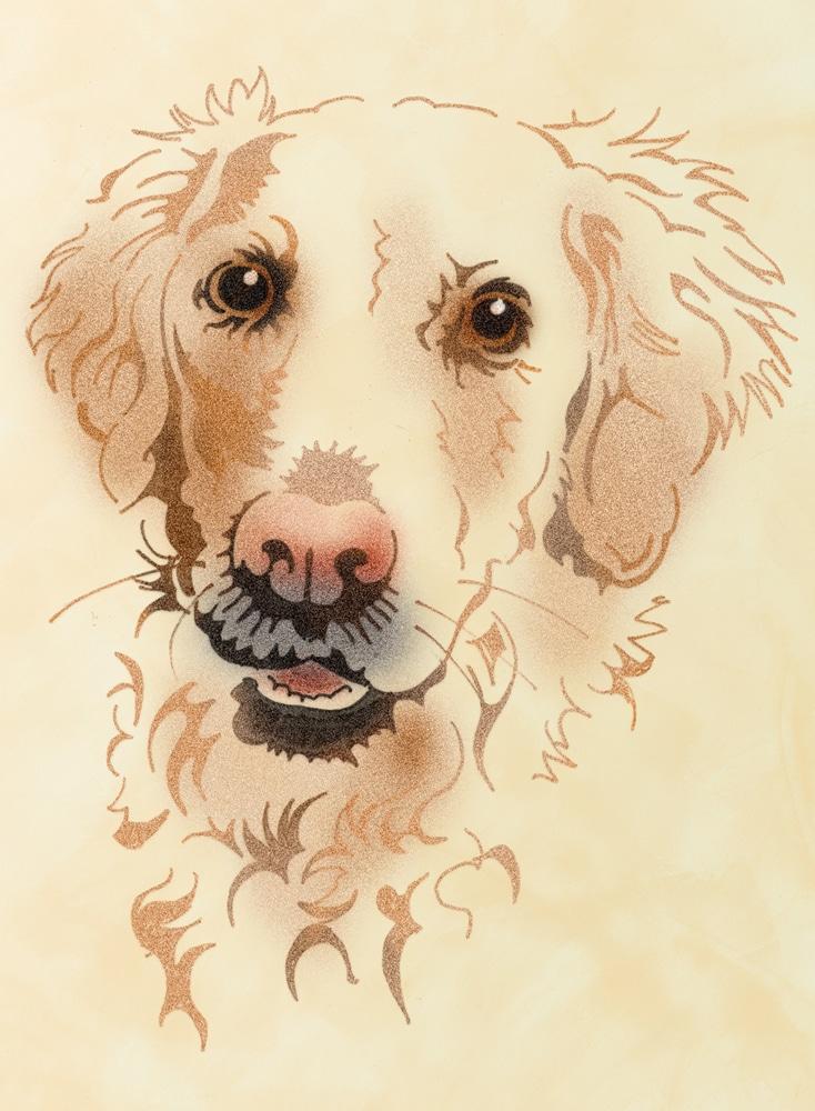 Wandschablone Golden Retriever Hund