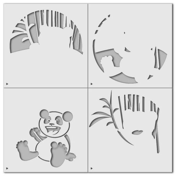 Wandschablone Panda