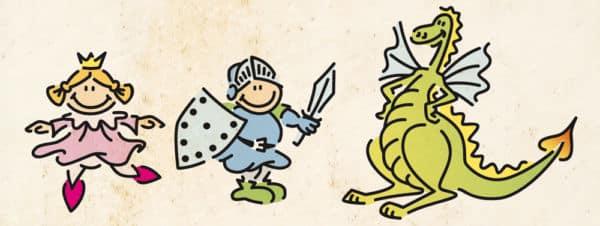 Wandschablone Prinzessin und Drache Kinderzimmer