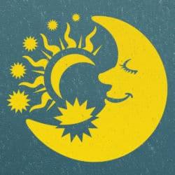 Wandschablone Mann im Mond Kinderzimmer