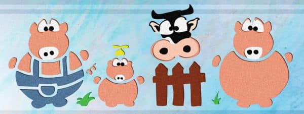 Wandschablone Schweinebande Kinderzimmer