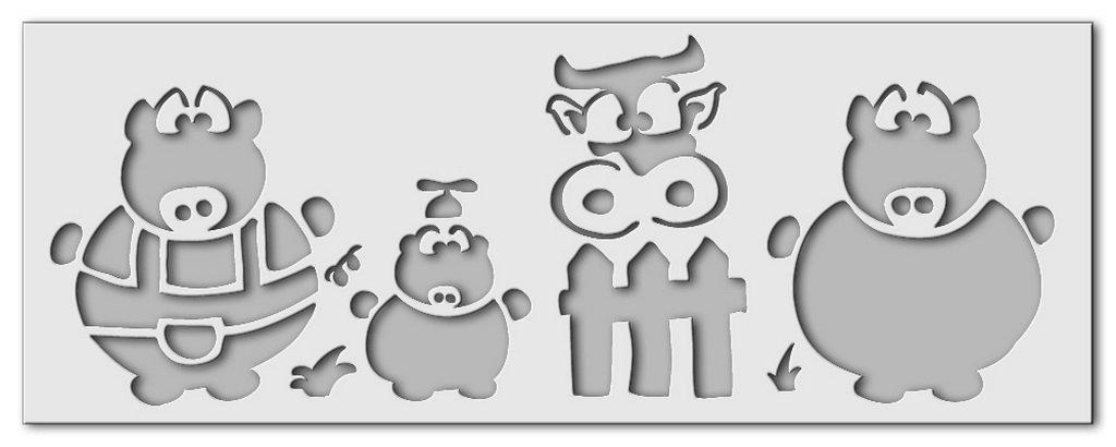 Wandschablone Schweinebande