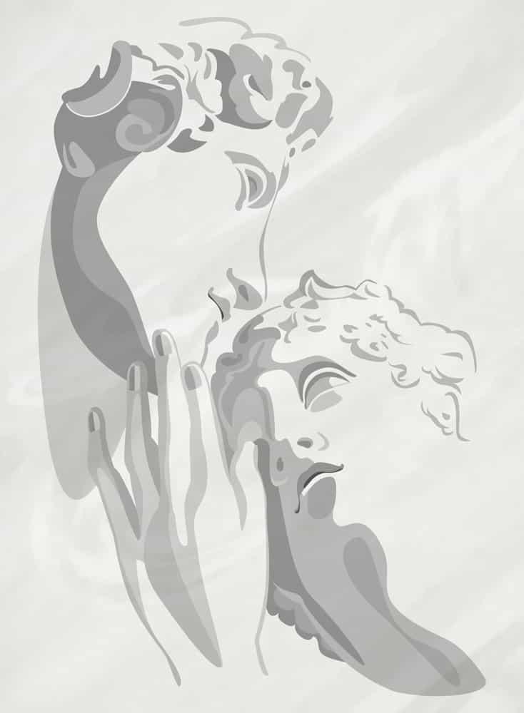 """Wandschablone Michelangelo """"Amor und Aphrodite"""", Grisaille Kultur"""