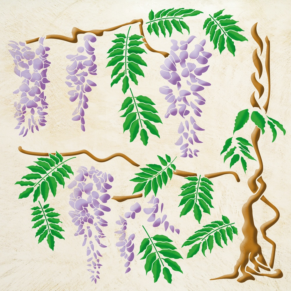 Wandschablone Blauregen floral