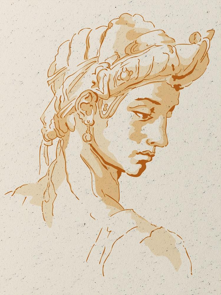"""Wandschablone Michelangelo """"Idealgesicht"""" Kultur"""